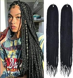 MSCHARM 6Packs 24Inch Senegalese Twist Box Braids Crochet Braiding Hair Synthetic Hair Extension 22Strands/Pack(Color 1B#)