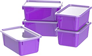 """Storex Small Cubby Bin with Cover, Plastic Storage Container Fits Classroom Cubbies, 12.2"""" x 7.8"""" x 1"""", Purple, Pack of 5..."""