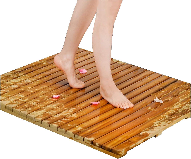 JIAJUAN Natural wholesale Wood Shower Max 84% OFF Bath Mat Non-Slip Foot Pedal Consta