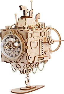 ROKR 3D Assembly Puzzle Build Your Own Wooden Music Box Craft Kits, Brain Teaser Gifts for Kids and Adults (Submarine)