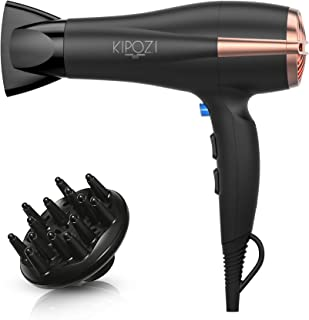 KIPOZI Pro 1875 W منفی برای موهای سرامیکی و سرامیک سریع و سبک وزن سریع و خشک با 2 تنظیم سرعت و 3 تنظیم گرما ، کنسانترس دیفیوزر و دکمه شات سرد ، سر و صدای کم (سیاه)