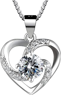 Sterling Silver Love Heart Pendant Necklace for Women,...