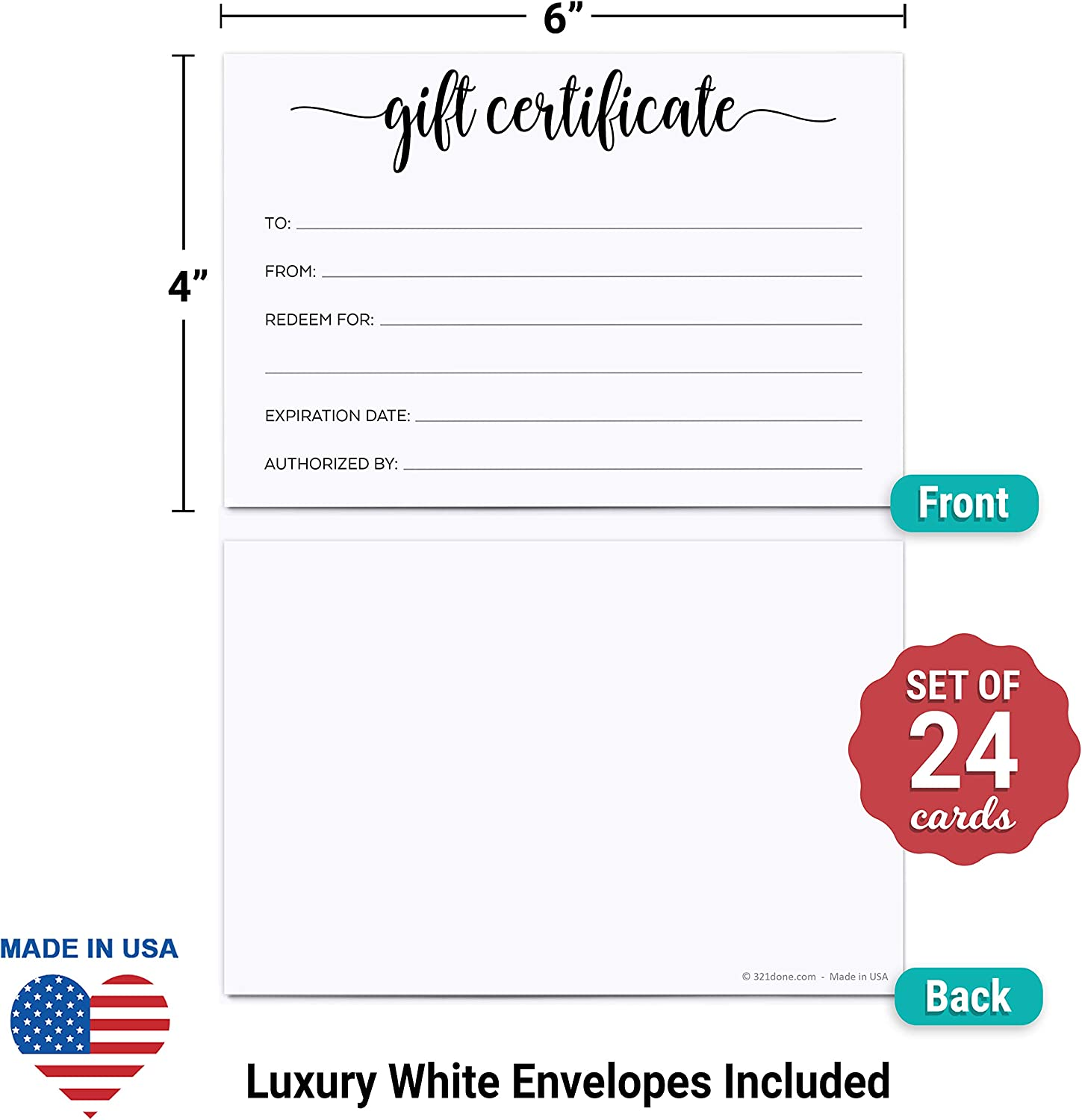 Office Supplies Office Products 321Done Blank Gift Certificates ...