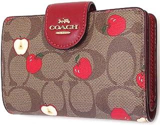 COACH Womens Medium Corner Zip Wallet In Signature Canvas, IM/Khaki Multi Apple Print,