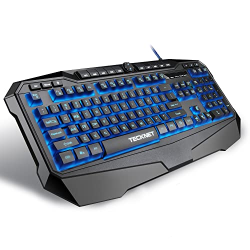 TeckNet Gaming Keyboard Gryphon LED Backlit Illuminated Programmable Wired Gaming Keyboard with Ergonomic Wrist Rest,