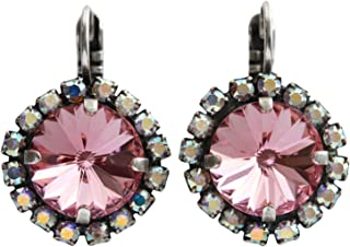 Unique Gifts Earrings G11-753 Geode Earrings Mothers Day Gift Pink Crystal Earring Studs