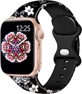 Easuny Floral Band Compatible for Apple Watch 44mm 42mm Womens Girls - Fadeless Floral Soft Pattern Printed Silicone Repla...