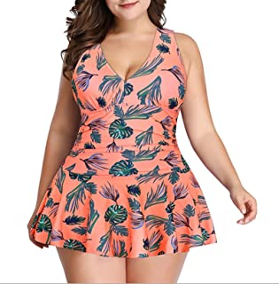 Women's Badeanzug, Kontrolle Schwimmkostüm gerafft Plus Größe Badebekleidung Bikini Badeanzug Strand Schwimmkostüm