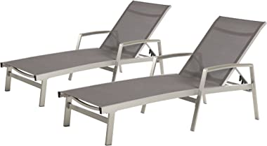 Christopher Knight Home 305144 Joy Outdoor Mesh and Aluminum Chaise Lounge (Set of 2), Gray