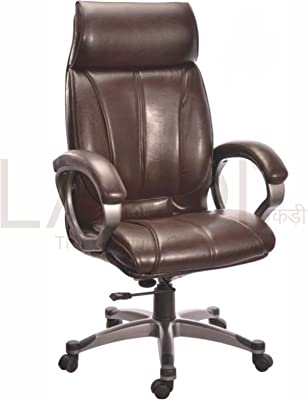 Lakdi-The Furniture Co. Brown Fully Cushioned Presidential Leatherite High Back Office Executive Chair Ideal for - Office, Institutes & Homes