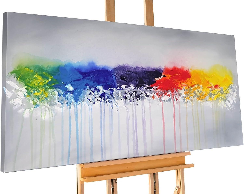 KunstLoft® Acryl Gemälde 'Rainy Season' Season' Season' 140x70cm   original handgemalte Leinwand Bilder XXL   Abstrakt Bunt Farbe Punkte   Wandbild Acrylbild moderne Kunst einteilig mit Rahmen B06VWBCDLC f962e3