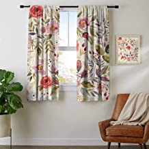youpinnong Shabby Chic, Curtains Unique, Watercolor Abstract Spring Poppies Flowers Roses Buds Leaves Romantic Print, Art Prints Window Treatment, W96 x L72 Inch Multicolor
