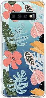 Suhctup Compatible con Samsung Galaxy S10+ Plus Funda Flor de TPU Transparente Diseño de Flores Patrón Cárcasa Ultra Fina ...