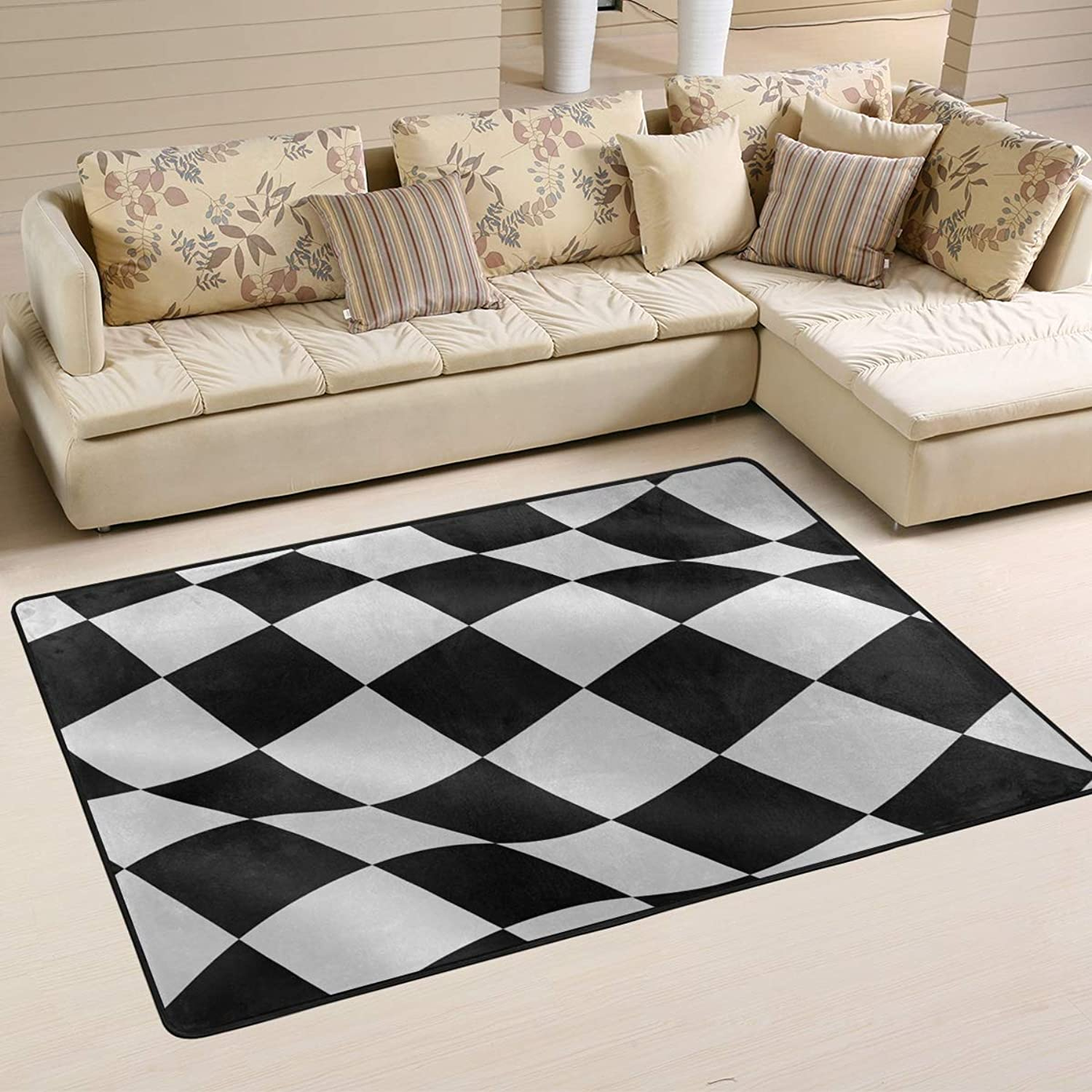 Area Rugs Doormats Black White Checkered Flag Soft Carpet Mat 6'x4' (72x48 Inches) for Living Dining Dorm Room Bedroom Home Decorative