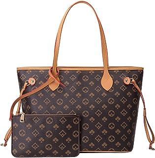 Aiovemc Handtasche Damen Brieftasche Set Schultertasche Mahjong Tasche Pu Leder Shopping UmhäNgetasche Mode Retro Braun Gr...