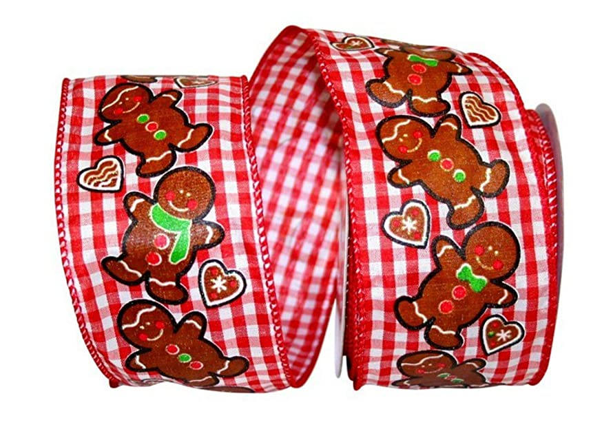Reliant Ribbon 93057W-001-40F Gingerbread Gingham Check Wired Edge Ribbon, 2-1/2 Inch X 10 Yards, Multi