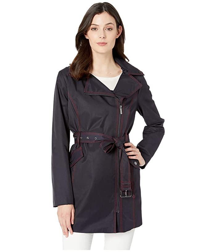 MICHAEL Michael Kors Asymmetric Belted Trench M724007M (Dark Navy) Women