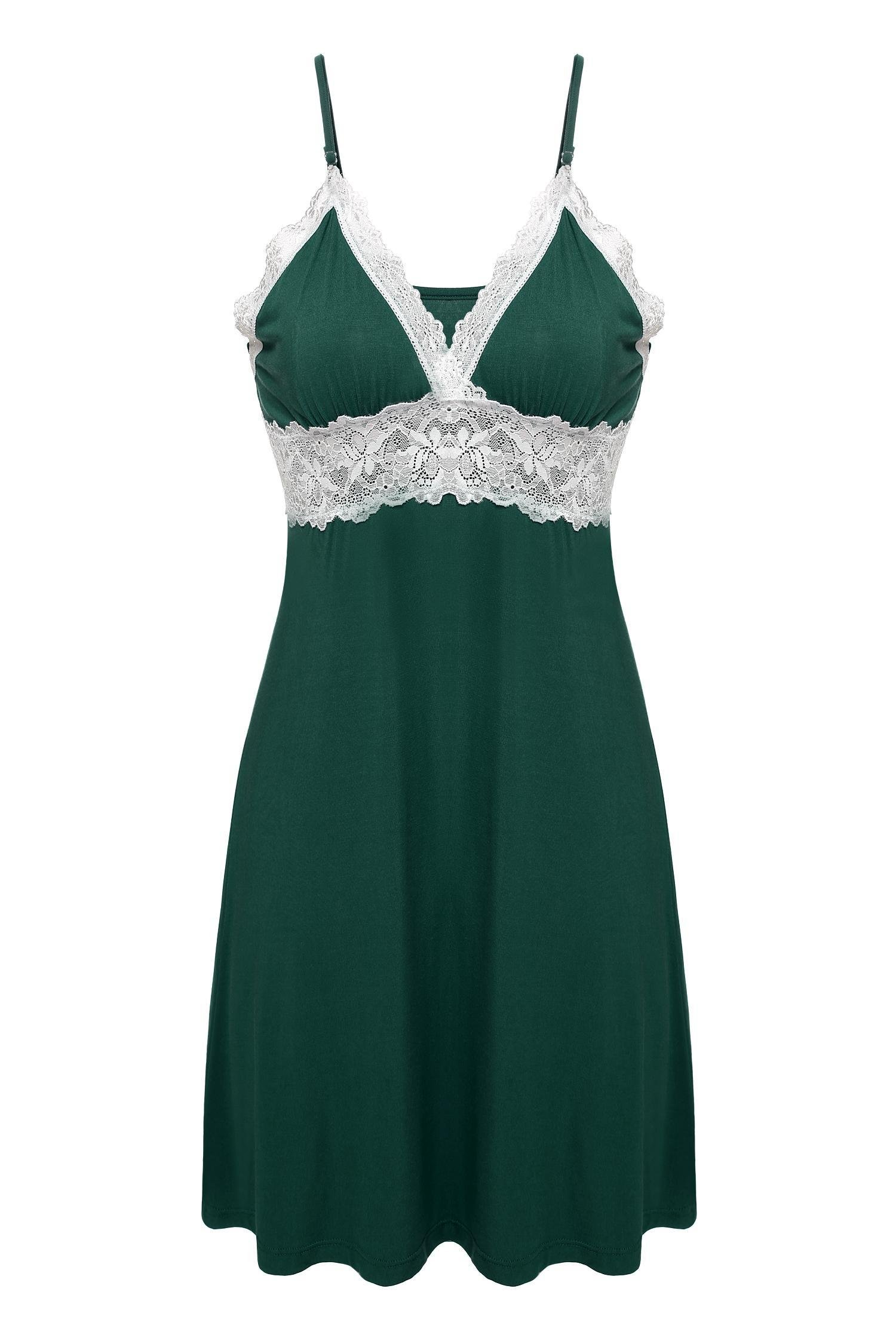 Ekouaer Sleeveless Sleepwear Nightgown Viscose green