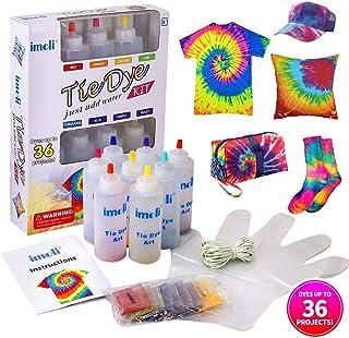 imoli Tie Dye Kit - 8 Colores Vibrantes Pinturas Textiles de Tela, Juego de teñido Permanente de un Solo Paso para niños, Adultos, Bricolaje de Moda(Incluye 8 Botellas de Tinte y 8 Paquetes de Tinte)