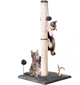 """blu&ben Cat Scratching Post 31"""" Tall Claw Scratcher with Interactive Toy Balls, Cat Furniture with Natural Sisal Rope and Soft Smooth Plush for Adult Cat, Kitten"""