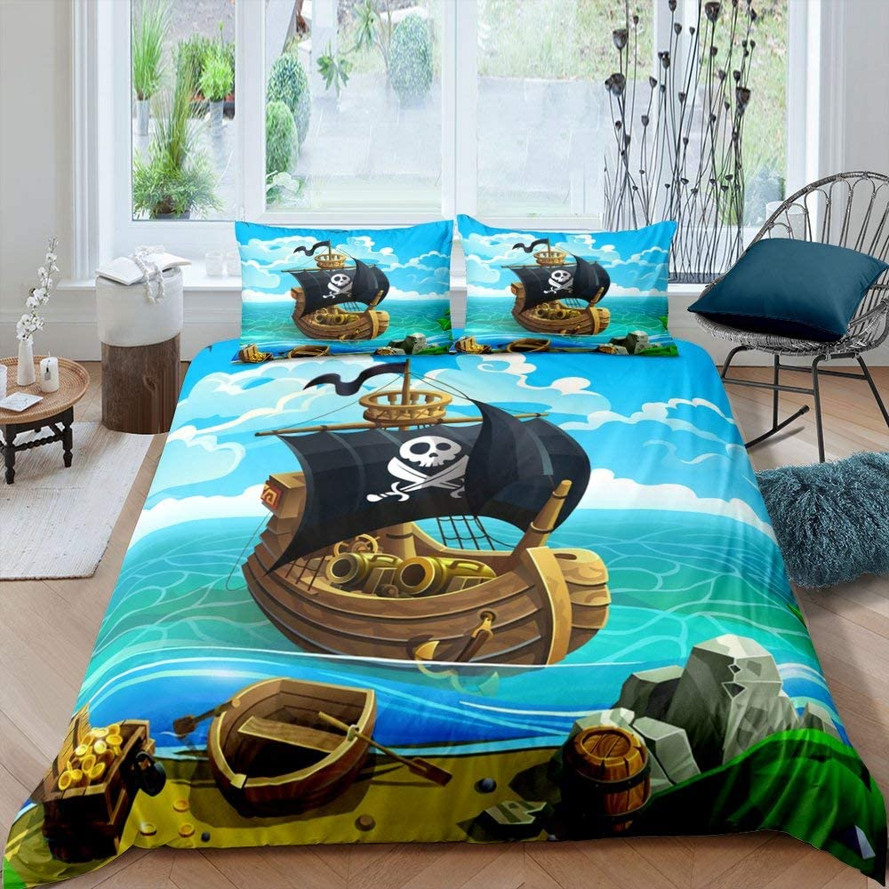 Sales Don't miss the campaign of SALE items from new works Kids Cartoon Pirate Ship Duvet Cover Nautical Treasure Full Set