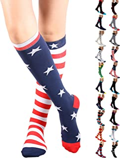 Gnpolo Womens Graduated Compression Socks 15-20 20-30 mmHg Athletic Running Nurse Stockings