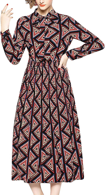 Geometry Print Bow Tie Stand Neck Long Sleeve Swing Pleated Vintage Women Dress