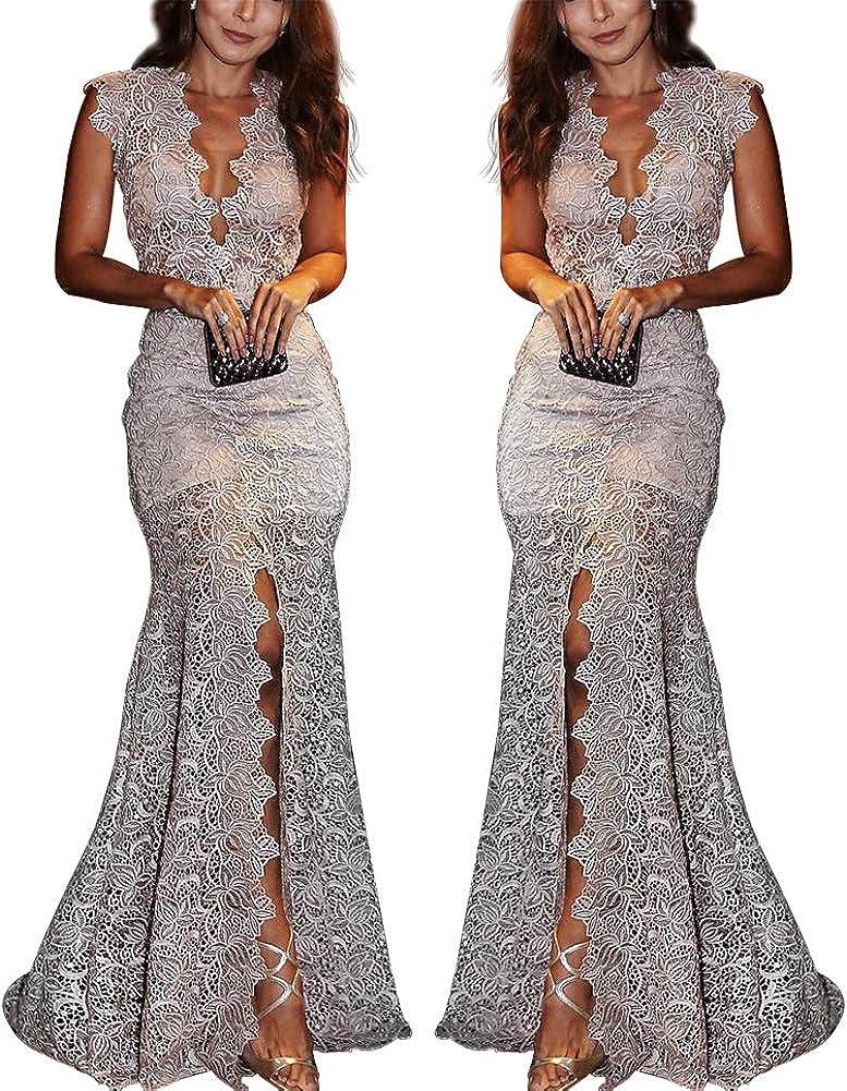 GLOA Women Slim Sexy Dress, Deep V Neck Sleeveless Hollow Lace Slit Party Maxi Dress