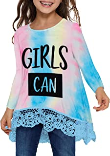 QUEEN PLUS Short/Long Sleeve Blouse for Girls Lace Round Neck Tops Casual Tee Shirts