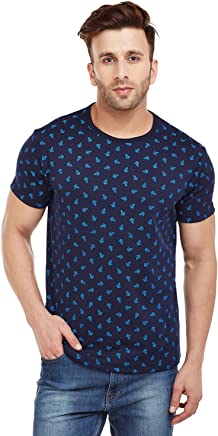 VIMAL Navy Blue Printed Round Neck Tshirt for Men