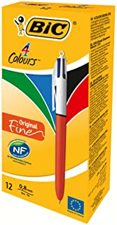 BIC 4 Colours Original Retractable Ballpoint Pens – Box of 12 – Fine Point..