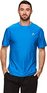 HEAD Men's Ultra Hypertek Crewneck Gym Training & Workout T-Shirt - Short Sleeve Activewear Top - Blue - S