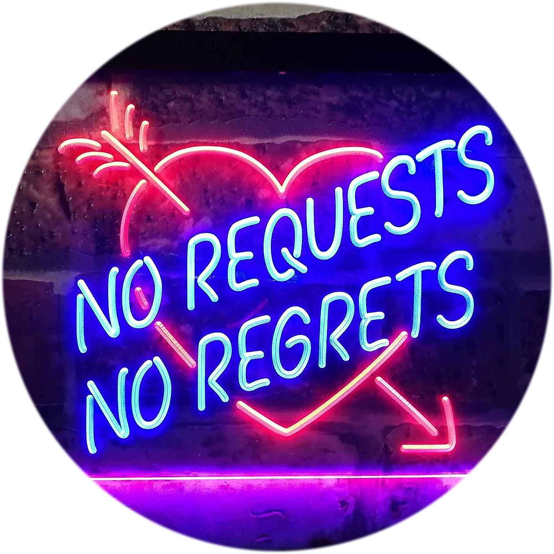 ADVPRO No Requests No Regrets Room Home Display Decoration Dual Farbe LED Barlicht Neonlicht Lichtwerbung Neon Sign Blau & rot 16  x 12  st6s43-i3191-br