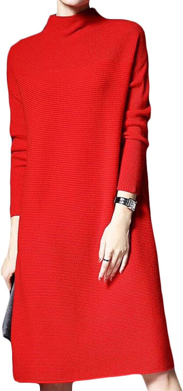 GAGA Women's Fall Fashionable Round Neck Loose Knit Dress