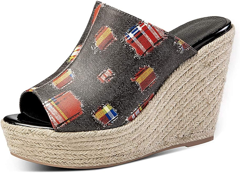 Yierkangxie Keil Hausschuhe Frauen Sommer Keil Sandalen Frauen Lederschuhe Mode High Heels Komfortable Flache Hausschuhe Hohe 11 cm (Farbe   rot, Größe   34 US5)