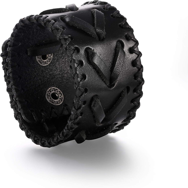 EVER FAITH Synthetic Leather Wide Hip Hop Bangle Men Cuff Belt Mixed Colors Wristband Bracelet Unisex Couple