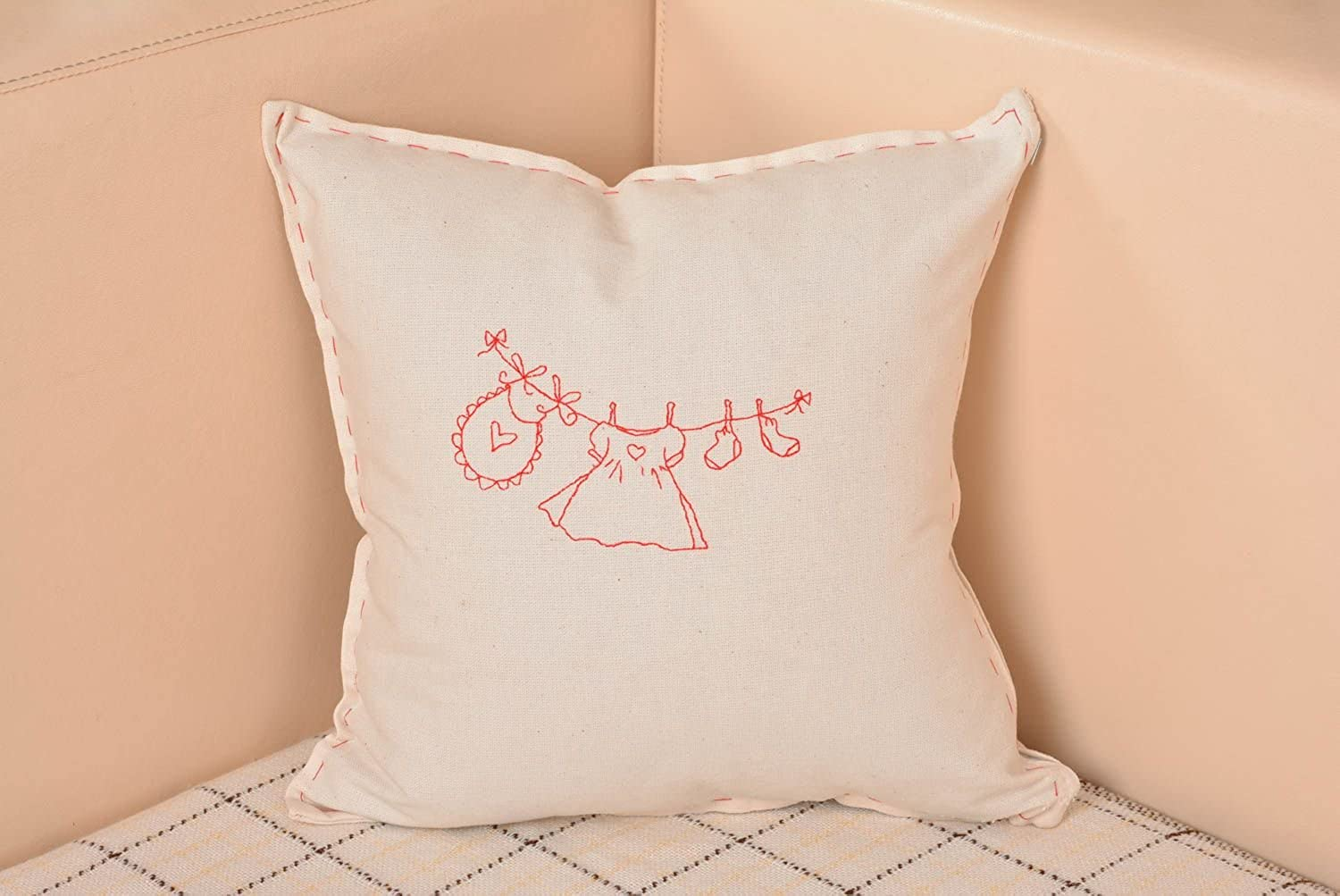 Handmade White Pillow Case Made Of Semi Linen With Designer Embroidery