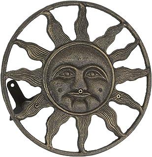 Zeckos Cast Iron Sun Face Decorative Wall Mounted Hanging Garden Hose Holder Bronze