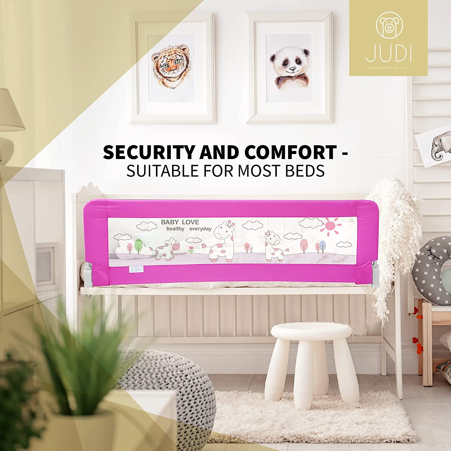 JUDI Toddler Bed Rail Guard for Safety - Foldable Stainless-Steel Frame with Cute Image Printed on Breathable Mesh - Easy to Install Suitable for Most Bed Sizes - 24.8x13.8 Inches (Pink)…