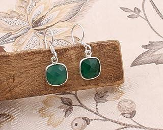 Pendientes de plata de ley para mujeres, Pendientes con forma de hoja, Cojín de ónix verde, Pendientes colgantes Plata Aretes, Sterling Silver Earrings for Women