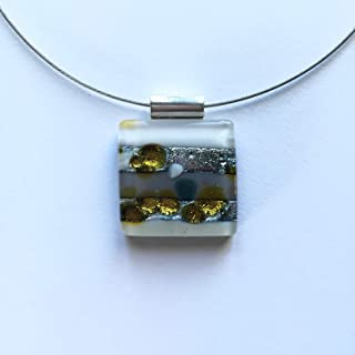 Fused Glass Graphic Jewelry/square pendant/necklace/fused glass/contemporary art piece/Christmas present/gift for her/dichroic glass