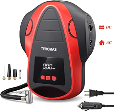 TEROMAS Tire Inflator Air Compressor, Portable DC/AC Air Pump for Car Tires 12V DC and Other Inflatables at Home 110V AC, Digital Electric Tire Pump with Pressure Gauge (Red): image