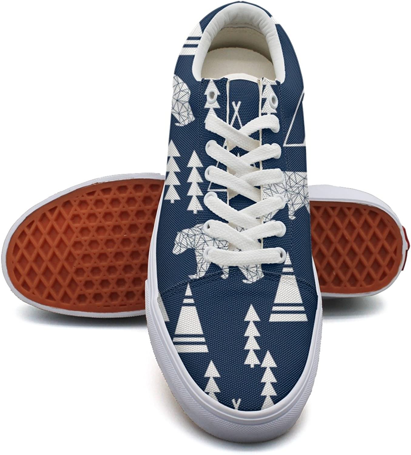 Teepee Bear Forest Fashion Canvas Sneaker shoes For Womns 3D Printed Low Top Canvas shoes