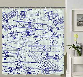 Airplane Shower Curtain, Vintage Planes Air Fying Aircraft Drawings Bathroom Curtains Nostalgic Flight, Waterproof Fabric Aviation Nautical Shower Curtain 12PCS Hooks Included, 69X70IN Royal Blue