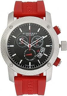 Burberry Sport Chronograph Black Dial Red Rubber Mens Watch BU7706