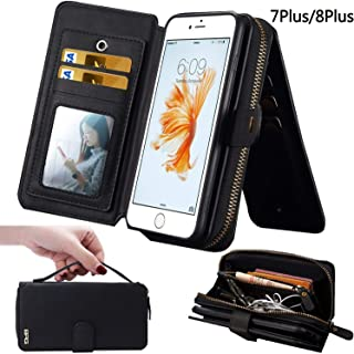 iPhone 7Plus/ 8Plus Women's Case,iPhone 7 Plus/8 Plus Wallet Case,Zipper Detachable Magnetic12 Card Slots Card Slots Money Pocket Clutch Cover Zipper Wallet Purse Case iPhone 7 Plus/8 Plus (Black)