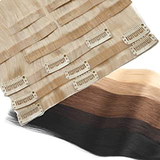 Tape Weft Clip in Hair Extensions 100% Human Hair for Women Platinum Blonde Straight Soft Hair Invisible Seamless Light Weave 16 inches 8pcs 18 clips for full head #60