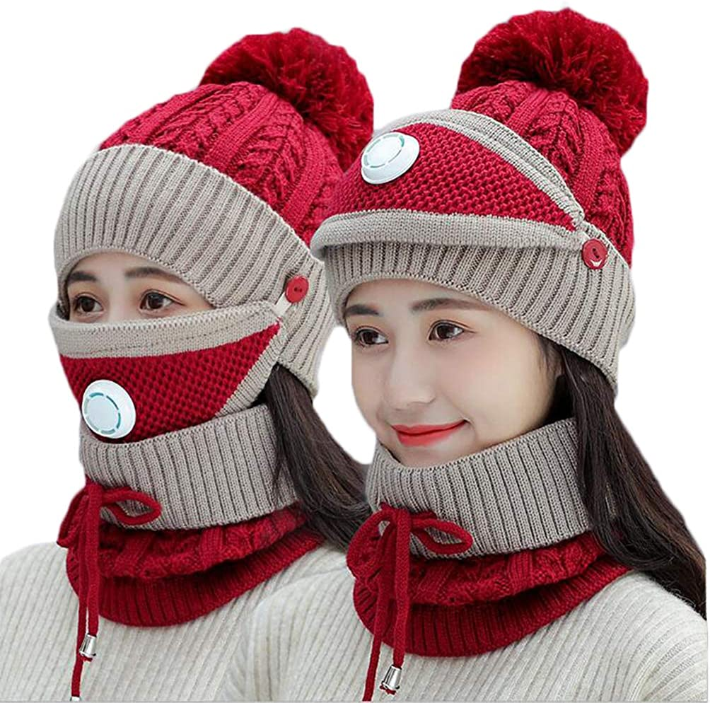 Fleece Lined Womens Beanie Knit Hat Set Scarf Dealing full price Gifts reduction Girls Winter Mask