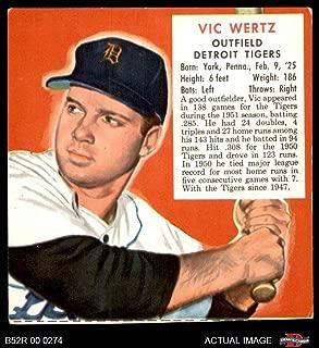 1952 Red Man # 22 AL x Vic Wertz Detroit Tigers (Baseball Card) (No Tab) Dean's Cards 4 - VG/EX Tigers