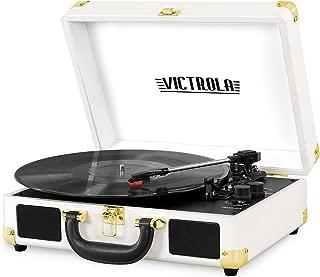 Victrola Vintage 3-Speed Bluetooth Suitcase Turntable with Speakers, White